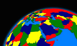 Middle east region on planet Earth political map Stock Photo