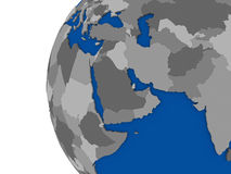 Middle east region on political globe Royalty Free Stock Photo