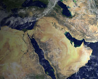Middle East, Satellite Space View. Satellite image of the Middle East from space. You can see the desert in this region of the planet Earth. Makes for a nice Royalty Free Stock Image