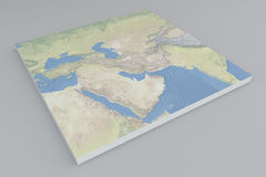Middle East, satellite view, split, 3d, map Stock Photo