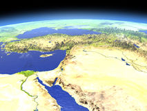 Middle East from space. Middle East as seen from earth's orbit in space on bright day. 3D illustration with detailed planet surface. Elements of this image Stock Images