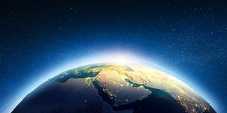 Middle East from space. Elements of this image furnished by NASA. 3d rendering royalty free stock images