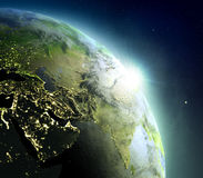 Middle East from space during sunrise. Sunrise above Middle East. Concept of new beginning, hope, light. 3D illustration with detailed planet surface, atmosphere vector illustration
