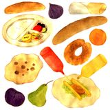 Middle East Street Food Watercolor Illustration. For any purpose such as cover book and illustration, wallpaper, home decor, print on canvas, apron, purse Stock Illustration