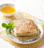 Middle east stuffed bread Mutabbaq Royalty Free Stock Image