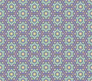 Middle East Style Lilac Green Colors Hexagonal Seamless Pattern Stock Photography