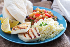 Middle East style meal with couscous and chickpeas Royalty Free Stock Images