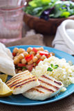 Middle East style meal with couscous and chickpeas Stock Image