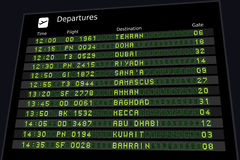 Middle East timetable. Departure board - destination airports. Middle East destinations: Tehran, Doha, Dubai, Riyadh, Sanaa, Damascus and other places Royalty Free Stock Image