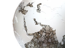 Middle East on translucent Earth Stock Photography