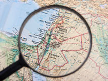Middle East under magnifier. Middle East under magnifying glass Royalty Free Stock Images