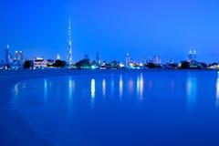 Middle East, United Arab Emirates, Dubai, City Skyline & Burj Khalifa at Dusk from Jumeirah Beach Stock Photos