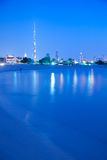 Middle East, United Arab Emirates, Dubai, City Skyline & Burj Khalifa at Dusk from Jumeirah Beach Stock Image