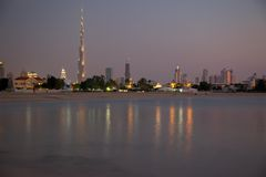 Middle East, United Arab Emirates, Dubai, City Skyline & Burj Khalifa at Sunset from Jumeirah Beach. City Skyline & Burj Khalifa at Sunset from Jumeirah Stock Photography