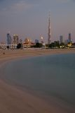 Middle East, United Arab Emirates, Dubai, City Skyline & Burj Khalifa at Sunset from Jumeirah Beach Stock Photo