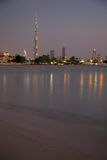 Middle East, United Arab Emirates, Dubai, City Skyline & Burj Khalifa at Sunset from Jumeirah Beach. View of Skyline & Burj Khalifa at Sunset from Jumeirah Royalty Free Stock Photography