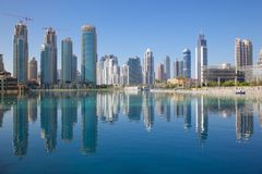 Middle East, United Arab Emirates, Dubai, Downtown, Burj Khalifa Fountain Lake Stock Photo