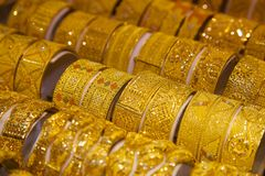 Middle East, United Arab Emirates, Dubai, Gold Souk, Gold Stock Image
