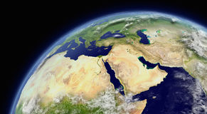 Middle East. Viewed from space with atmosphere and clouds. Elements of this image furnished by NASA royalty free illustration