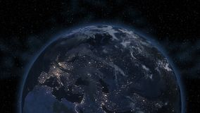 Middle east, west Asia, east Europe lights during night as it looks like from space. Elements of this image are furnished by NASA.  stock image