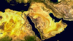 Middle east, west asia, Israel and Iran as it looks like from space. Elements of this image are furnished by NASA. royalty free stock photo