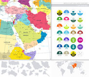 Middle East And West Asia Map And Flat Icons Stock Images