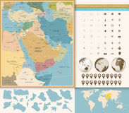 Middle East And West Asia Map Vintage Colors Royalty Free Stock Photography