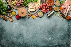 Middle eastern or arabic tradition ingredients. Kebab bread, meat, wine, herbs and spices. Space for text, flat lay stock images
