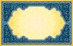 Middle eastern art background in blue and gold color royalty free illustration