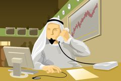 Middle Eastern Brokerage Firm. A scene inside a big middle eastern brokerage firm where an arabian employee is buying/selling stocks while talking to a customer Royalty Free Illustration