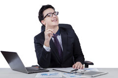Middle eastern businessman gets idea Stock Images