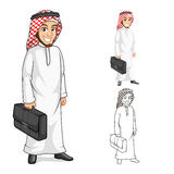 Middle Eastern Businessman Holding a Briefcase. High Quality Middle Eastern Businessman Holding a Briefcase or Bag Cartoon Character Include Flat Design and vector illustration
