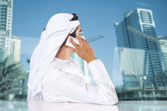 Middle Eastern businessman talking on the phone Royalty Free Stock Images