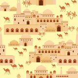 Middle Eastern city. Islamic seamless pattern with the image of the ancient Middle Eastern city. A mirage in the desert royalty free illustration