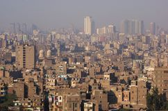 Middle eastern city. A large compact city in Egypt with polluted air Stock Photos
