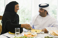 A Middle Eastern couple enjoying a meal Stock Photography