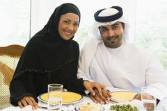 A Middle Eastern couple enjoying a meal Stock Images