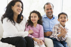 Middle Eastern couple with their grandchildren stock photo