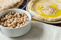 Middle Eastern cuisine: freshly made hummous Royalty Free Stock Photo
