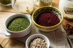 Middle Eastern cuisine: sumac, parsley, sunflower seeds Stock Images