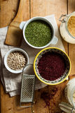 Middle Eastern cuisine: sumac, parsley, sunflower seeds Stock Photography