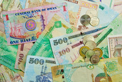 Middle Eastern Currency. Banknotes and coings from countries in the Middle East Stock Images