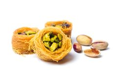 Middle Eastern dessert with pistachio called mabroume stock image