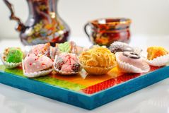 Middle Eastern Desserts. Arabic Sweets. Henna and Mimouna Cookies. stock images