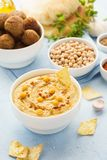 Middle eastern dishes and assorted meze. Falafel, hummus, pita. Middle eastern or arabic dishes and assorted meze. Falafel, hummus and pita. Halal food stock photography