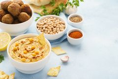 Middle eastern dishes and assorted meze. Falafel, hummus, pita stock photography
