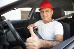 Middle Eastern Driver. Is thumps up In Van Royalty Free Stock Photo