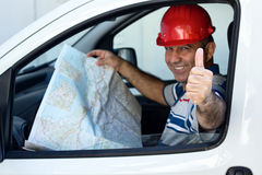 Middle Eastern Driver. Is thumps up In Van with map Royalty Free Stock Image