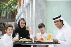 A Middle Eastern family enjoying a meal Stock Photo