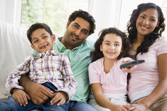 Middle Eastern family watching television Stock Image